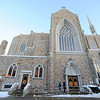 Locals arrive at St. Cecelia's Parish in Leominster, Wednesday night, for the calling hours of Monsignor Francis Goguen, pastor of the church, who died last week.<br /> SENTINEL & ENTERPRISE / BRETT CRAWFORD