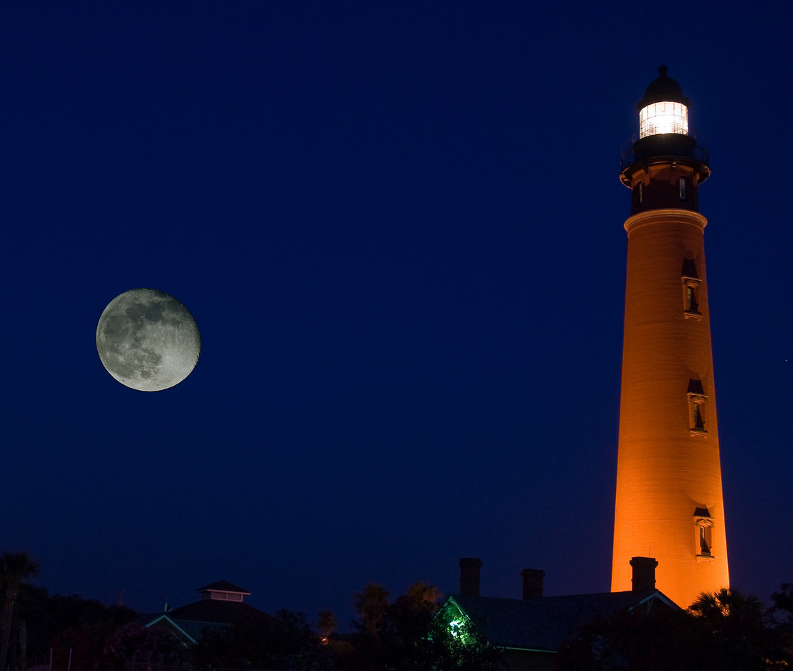 Ponce De Leon Lighthouse with an implanted moon