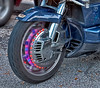 Special lighting on the hub of this Honda Motorcycle Trike - Post HDR processing and rial blur