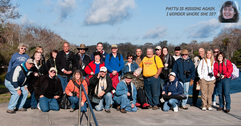 Group Photo of the Camera Club of Brevard members who attended the DeLeon Springs State Park January, 2010 Field Trip.