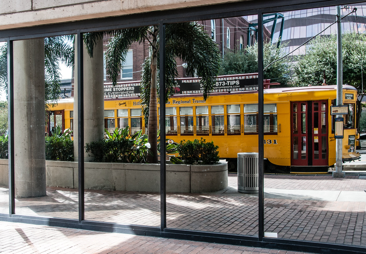 • Location - Downtown Tampa<br /> • How about that you can read the text from the streetcar reflection correctly.