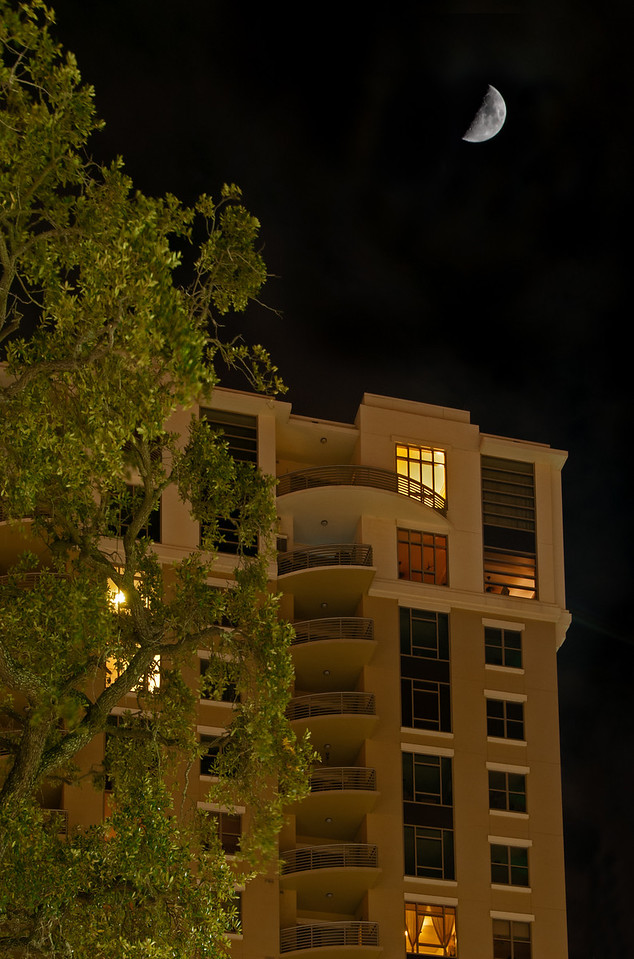 • Location - Nighttime in downtown Tampa<br /> • Yes, I was able to capture this half moon over this condo