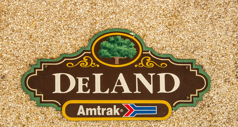• The Amtrak DeLand Train Station<br /> • A sign on the side of the building