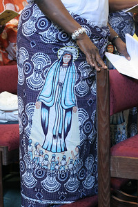 A woman's skirt pays tribute to the Blessed Virgin Mary on her August 15 feast day.