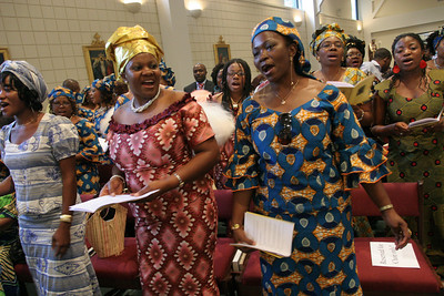 Catholic women of Cameroon decent from around the Archdiocese of Atlanta come together to make beautiful music for their monthly Mass.