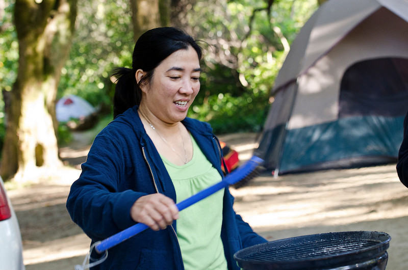 Chi Phuong getting the grill ready for Bun Thit Nuong
