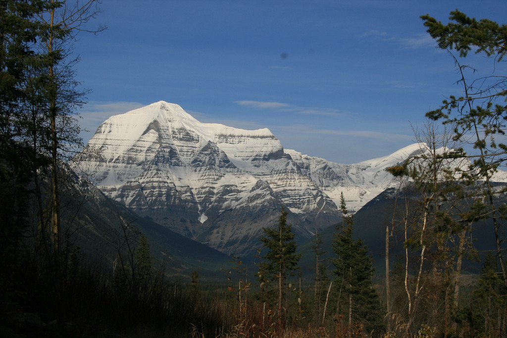 Mount Robson on the drive back home (just outside Jasper, BC). Tallest peak in the Canadian Rockies, and rarely without cloud!