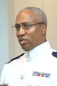 Bronaugh Bridges III, Flotilla staff officer, United States Coast Guard Auxiliary, served as cantor during the final Sunday Mass at the Cantonment Chapel, June 5.  (Page 11, June 23, 2011 issue)