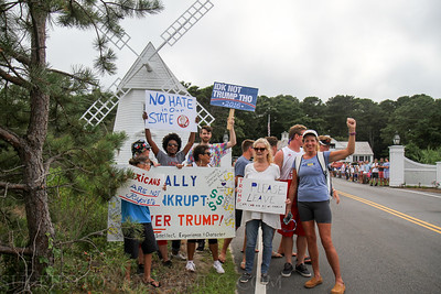 Protest against Republican presidential nominee Donald Trump near the home of businessman William Koch as Koch holds a fundraiser for Trump. Osterville, Massachusetts, USA