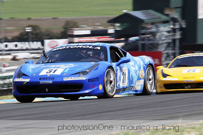 Ferrari Challenge race with 458 Challenge cars.