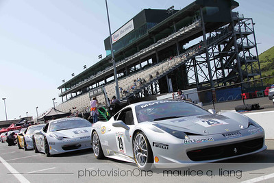 Ferrari SF's team in pit row at Infineon.