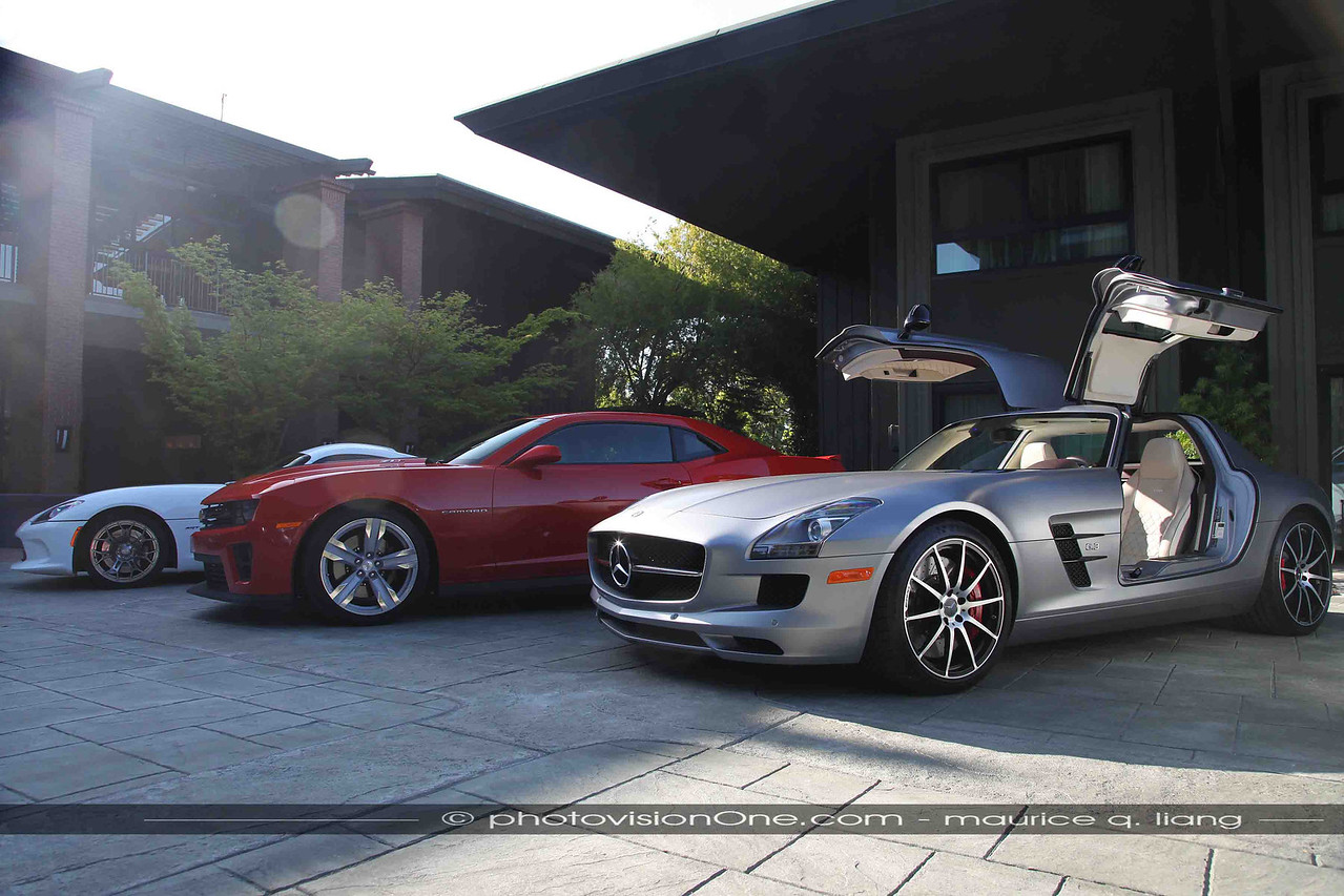Some enticing hardware:  Viper, Camaro ZL-1, and Mercedes SLS AMG GT.