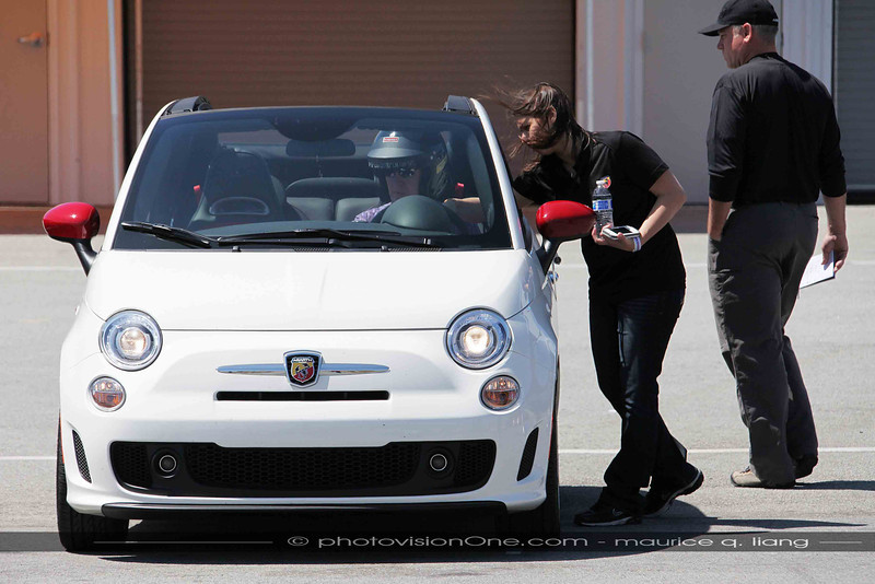 Allison explains the controls of the Abarth.