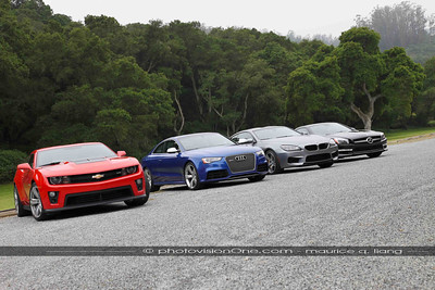 Day One is on-road tests.  Our group test drives these 4 big coupes.  Camaro ZL-1, Audi RS5, BMW M6, and Mercedes AMG SL65 for back-to-back comparisons.