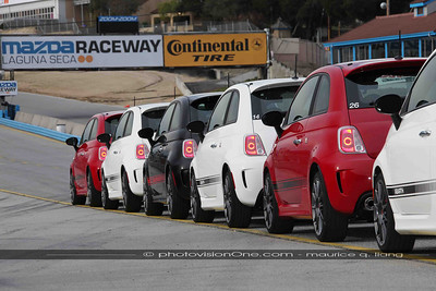 Abarths lined up for a day at the Laguna Seca.