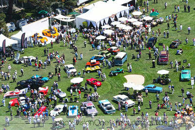 Aerial view of post-war race cars and dune buggy exhibit.