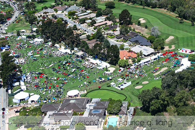 Aerial view of entire show with Quail Lodge in foreground.