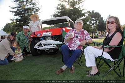 Bruce Meyers, inventor of the fiberglass dune buggy, with his crew.