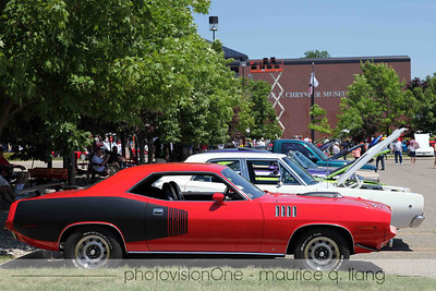 Muscle cars including a '71 Hemi 'cuda.