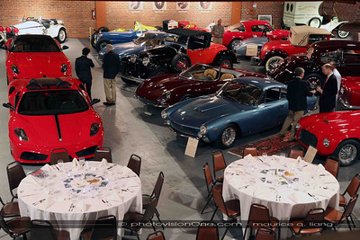 Tables set to dine amongst the cars.