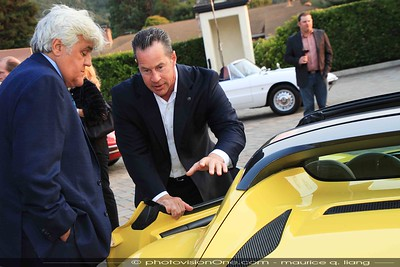 Reid Bigland gives Jay Leno a tour of the Alfa 4c spider.
