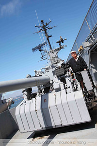 "When Bruce served on the sister ship, the Bunker Hill, he was a gunner on the 5"" guns like this one."