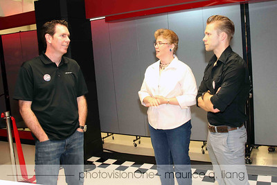 Mark Trostle, Head of SRT & Motorsports Design, Doreen Wright, museum COO, and Adam Hubers, cafe designer.