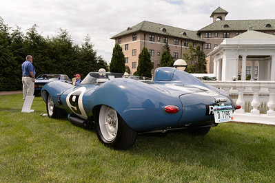 James W. Taylor's 1955 Jaguar D-Type Open Cockpit Racer on the grounds of the Hotel Hershey