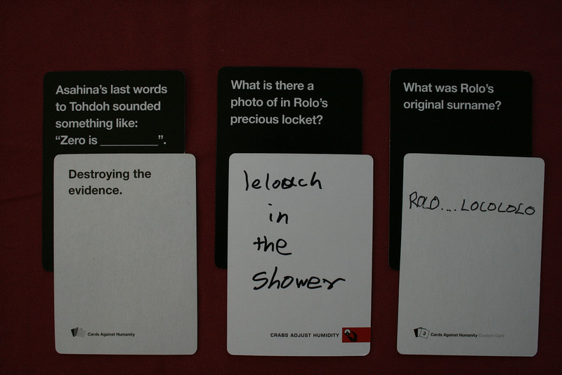 Some of Ethans winning cards