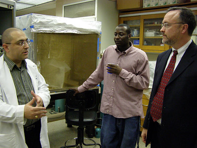 "Dr. Fogleman receives a tour of Dr. Haddad's research lab at Howard University (Washington, DC.) Zikiar Alvin (a.k.a. ""The Zeek"") a graduate student in Dr. Haddad's lab."