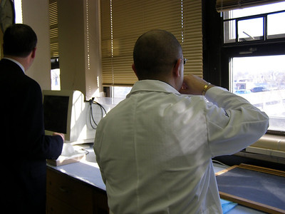 Dr. Fogleman receives a tour of Dr. Haddad's research lab at Howard University (Washington, DC.)