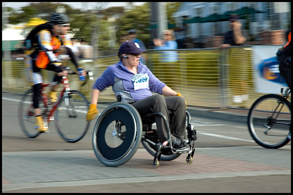 5465 - It takes courage to run this race in a standard chair! A bit slower than the guys, but she is a Winner too!