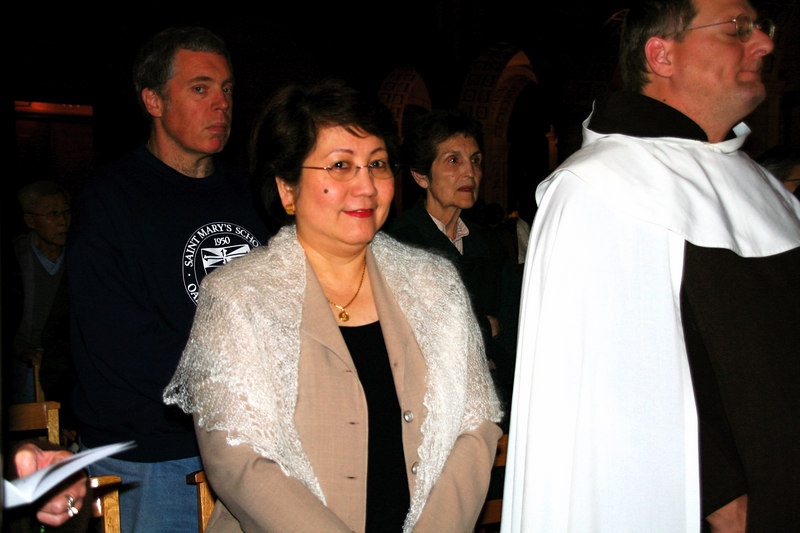 OCDS president Aida Sibal, with Brother Michael OCD to the right