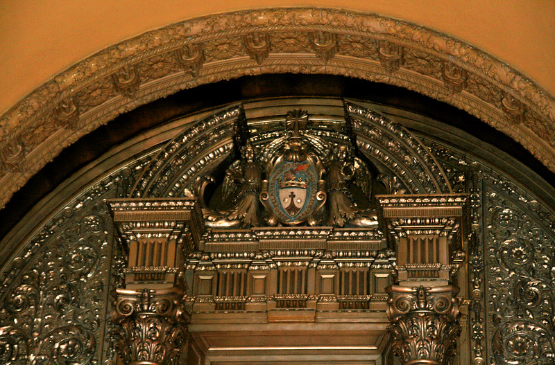The top of the arch over the altar at the chapel at the Monastery of the Infant Jesus in Santa Clara CA