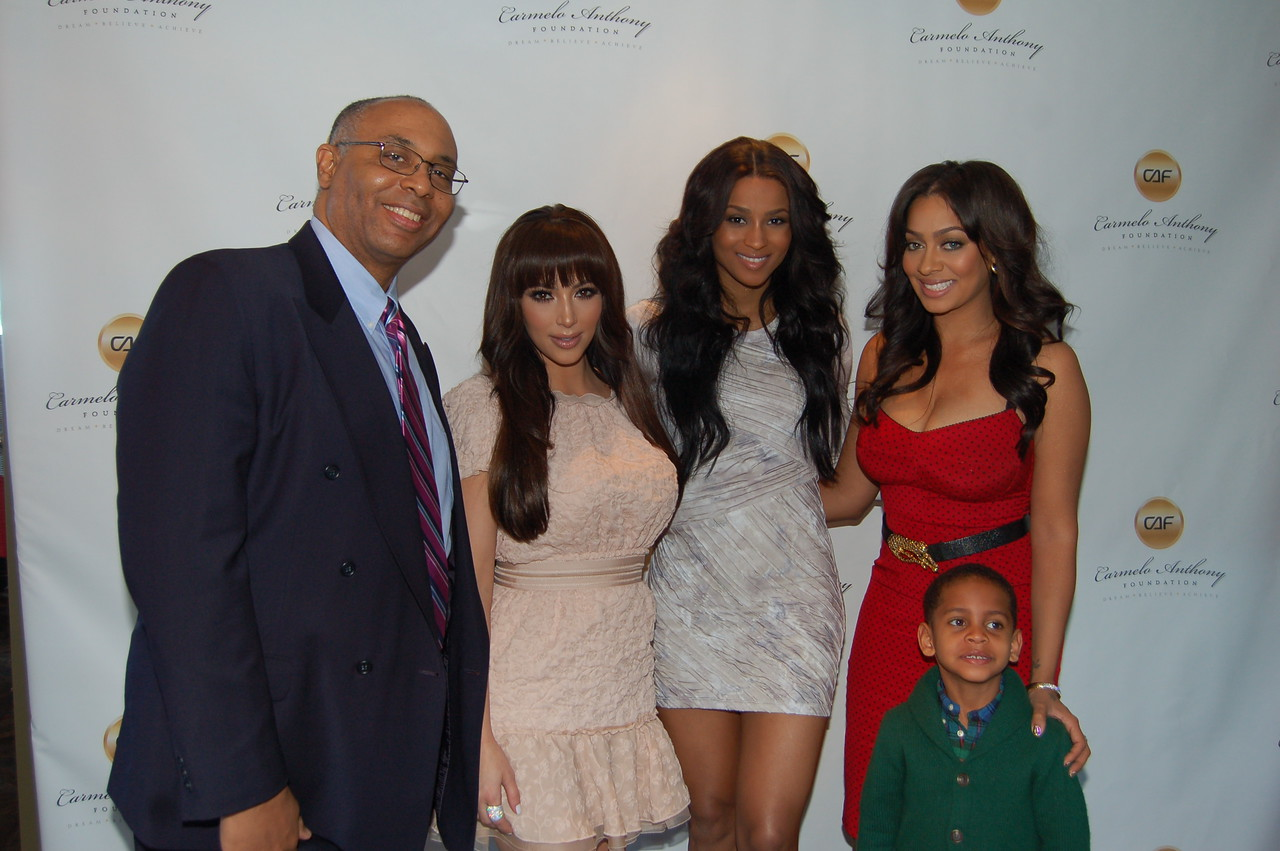 Bob Hudson, Johnson Products, Kim Kardashian, and Carmelo's Wife (far right), 3 year old son and sister-in-law.
