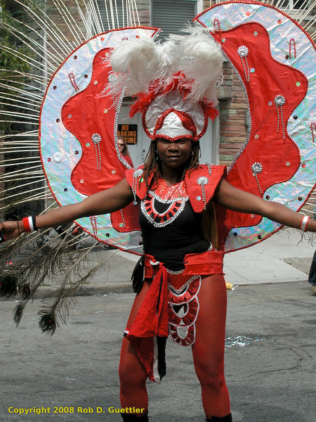 Winged dancer in red. Los Angeles Carnival Tour, Carnaval Parade 2008 staging. Bryant St. near 24th St., Mission District, San Francisco, California.