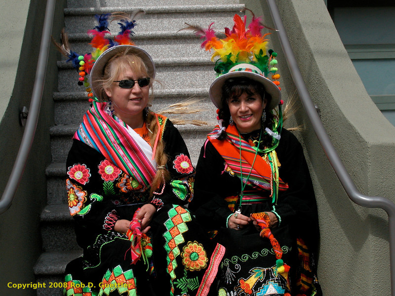 Women in traditional Bolivian(?) costumes. Jatun Marka Bolivia (?), Carnaval Parade 2008 staging. Bryant St. near 24th St., Mission District, San Francisco, California.