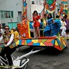 Human-powered float steered by tricycle. Cultural Mosaic: Tradicion Peruana Cultural Center, Good Samaritan, Paul Revere School & BRAVA(?). Carnaval Parade 2008 staging. Bryant St. near 24th St., Mission District, San Francisco, California.