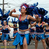 Dancing group in blue. Fogo Na Roupa, Carnaval Parade 2008 staging. Bryant St. near 24th St., Mission District, San Francisco, California.