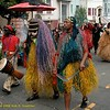Dancers in tribal costumes. The African Outlet, Carnaval Parade 2008 staging. Bryant St. near 24th St., Mission District, San Francisco, California.