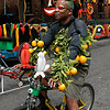 Citrus bicyclist. Cyclecide, Carnaval Parade 2008 staging. Bryant St. near 24th St., Mission District, San Francisco, California.