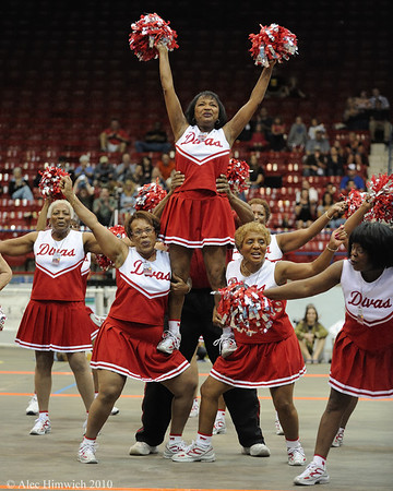 The halftime show at the Carolina Roller Girls match was provided by the Durham Divas, a team of middle-aged ladies.  <br /> <br /> Dorton Arena<br /> Raleigh, NC<br /> May 18, 2008<br /> <br /> Dorton Arena.<br /> <br /> Raleigh, NC<br /> <br /> May 18, 2008