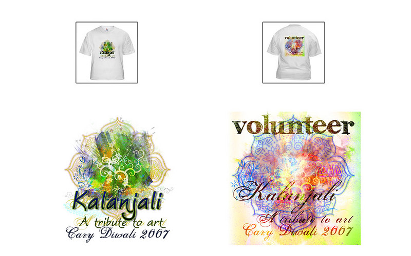 Examples of how the logo designs will look on T-shirts for Volunteers.