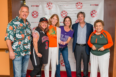 Generous sponsors Jeffrey Feiler, Norma Jean Abraham, and Patricia Cloherty with Paws 4 You Director Carol Caridad, guest emcee Dave Barry, and guest of honor Donna Shalala