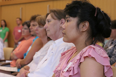 (R-l) Anadella Cichonski of St. Ann's Church, Marietta, Maureen Folz of St. Peter Chanel Church, Roswell, Martha Collins of St. Ann's Church, and Jean Gagliardi of St. Peter Chanel listen as Sally Bethea of the Upper Chattahoochee Riverkeeper addresses the importance surrounding the protection and preservation of the Chattahoochee River and its watershed.