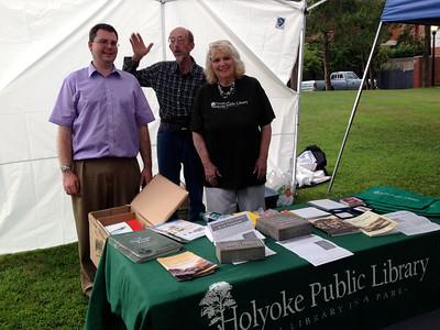Andrew, Tim, and Karlene at the Holyoke Public Library table at Celebrate Holyoke, Friday Aug 21.