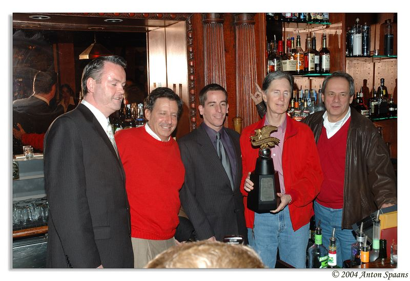 Larry Lucchino, John Henry, Tom Werner,  and Sonsie's managers Steve and Thomas.