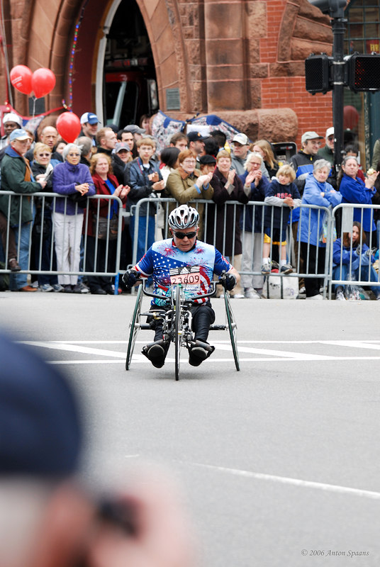 23609: Joseph M. Dowling, USA (CT) (1:36:24 1st in Hand Cycles division). 66 years old.