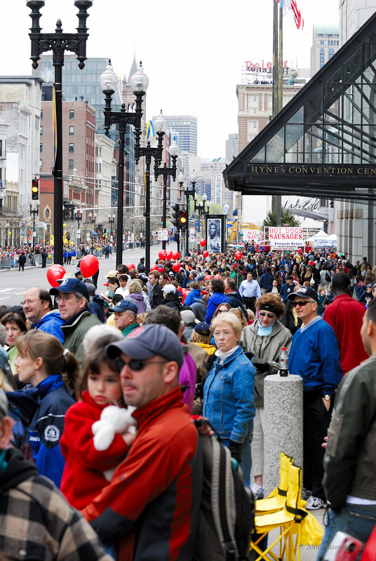 Crowd on Boylston Street, at the Hynes Convention Center.