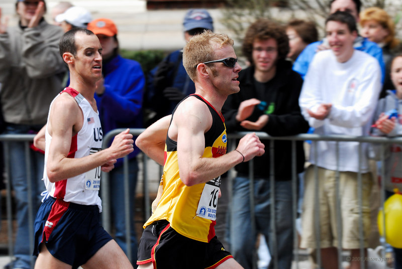 """""""<i>What shoes is he running with?</i>"""" 10: Alan Culpepper,  USA (CO) (2:11:02 5th) 16: Brian Sell, USA (MI) (2:10:55 4th)"""